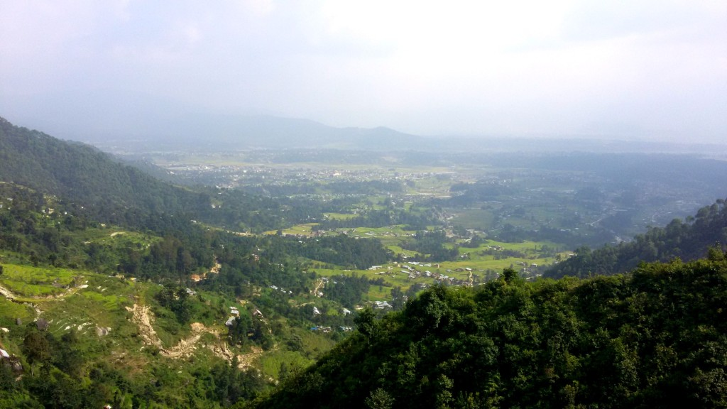 A beautiful view of Kathmandu Valley on the way to the top of the mountain.